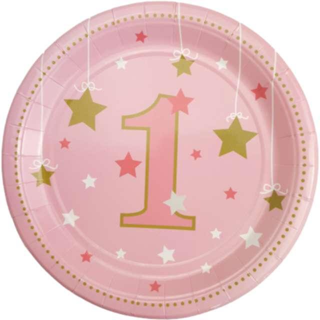 """Talerzyki papierowe """"Baby Shower Girl- Cyfra 1"""", różowy, Jix, 17,5 cm"""
