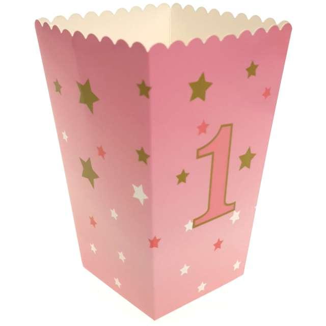 """Pudełko na popcorn """"Urodziny - Różowa cyfra 1"""", Jix, 6 szt"""