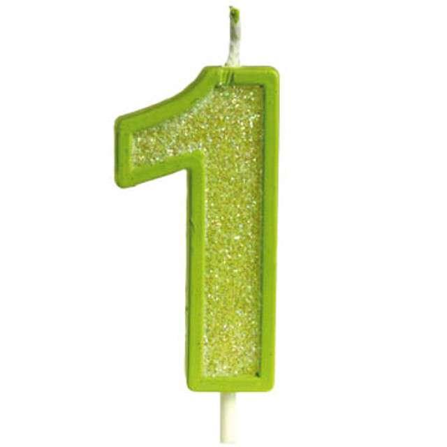 """Świeczka na tort """"Cyfra 1 brokat"""", zielona, Guirca, 4 cm"""
