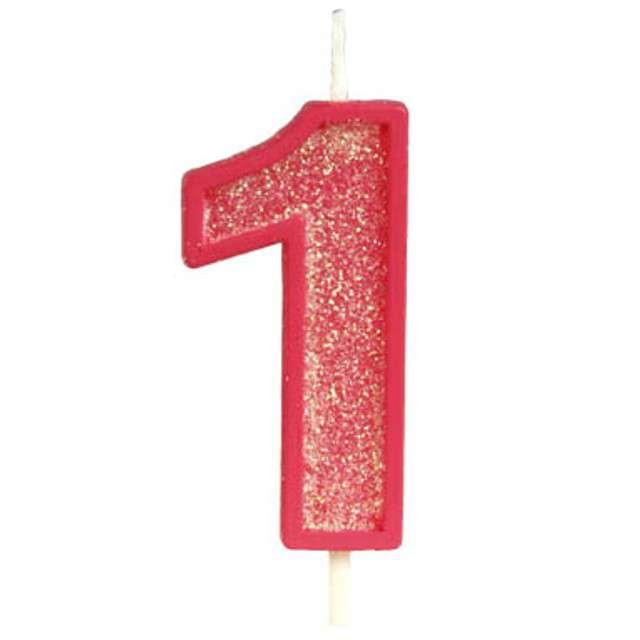"""Świeczka na tort """"Cyfra 1 brokat"""", czerwona, Guirca, 4 cm"""