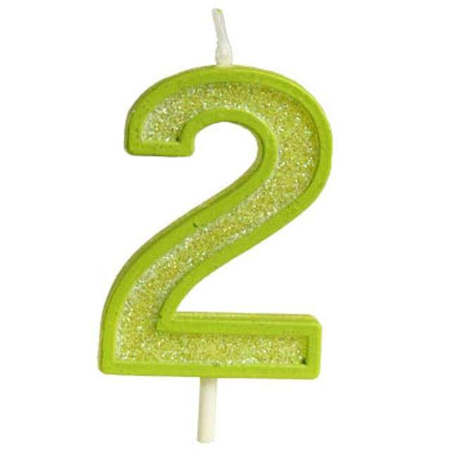 """Świeczka na tort """"Cyfra 2 brokat"""", zielona, Guirca, 4 cm"""