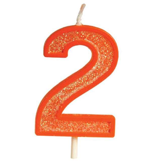 """Świeczka na tort """"Cyfra 2 brokat"""", pomarańczowa, Guirca, 4 cm"""