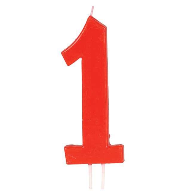"""Świeczka na tort """"Cyfra 1"""", czerwona, Guirca, 12 cm"""