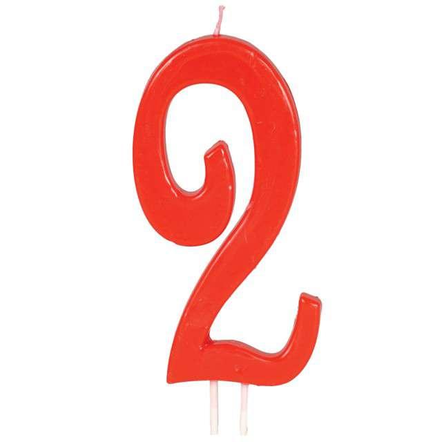 """Świeczka na tort """"Cyfra 2"""", czerwona, Guirca, 12 cm"""