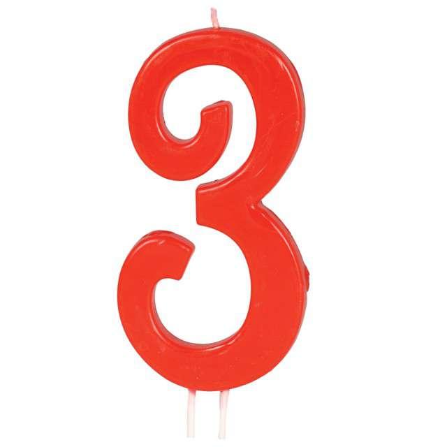 """Świeczka na tort """"Cyfra 3"""", czerwona, Guirca, 12 cm"""