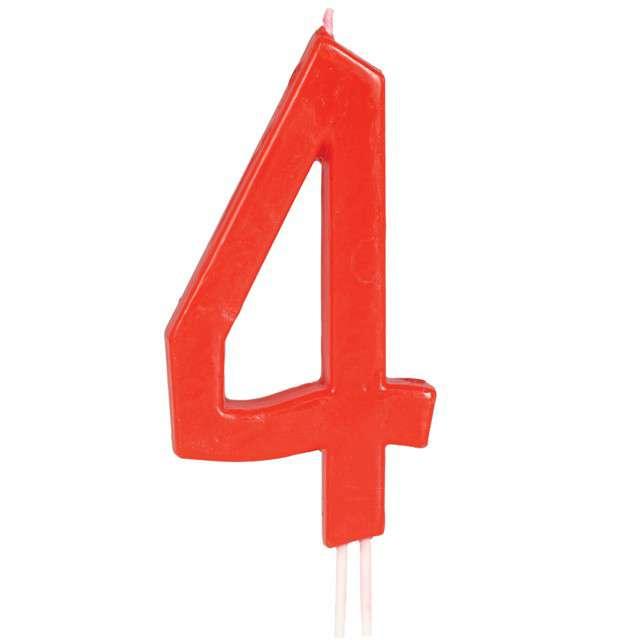 """Świeczka na tort """"Cyfra 4"""", czerwona, Guirca, 12 cm"""