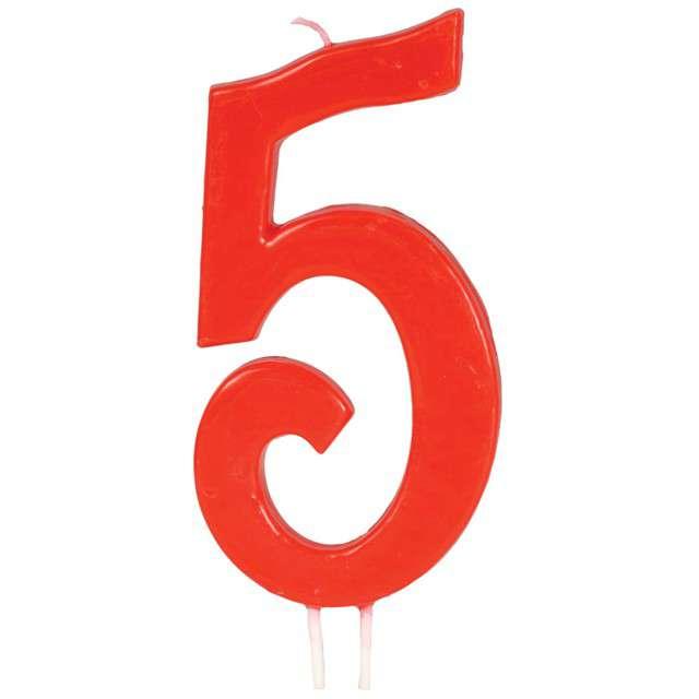 """Świeczka na tort """"Cyfra 5"""", czerwona, Guirca, 12 cm"""