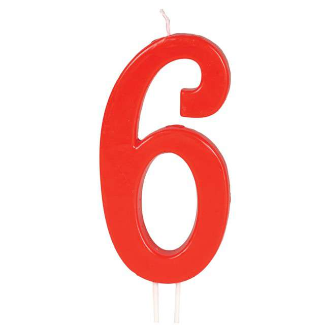 """Świeczka na tort """"Cyfra 6"""", czerwona, Guirca, 12 cm"""