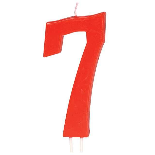 """Świeczka na tort """"Cyfra 7"""", czerwona, Guirca, 12 cm"""