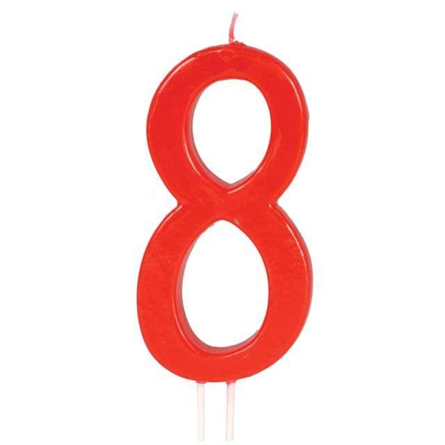 """Świeczka na tort """"Cyfra 8"""", czerwona, Guirca, 12 cm"""
