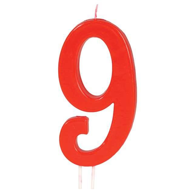 """Świeczka na tort """"Cyfra 9"""", czerwona, Guirca, 12 cm"""