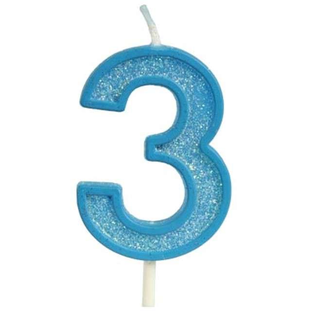 """Świeczka na tort """"Cyfra 3 brokat"""", niebieska, Guirca, 4 cm"""