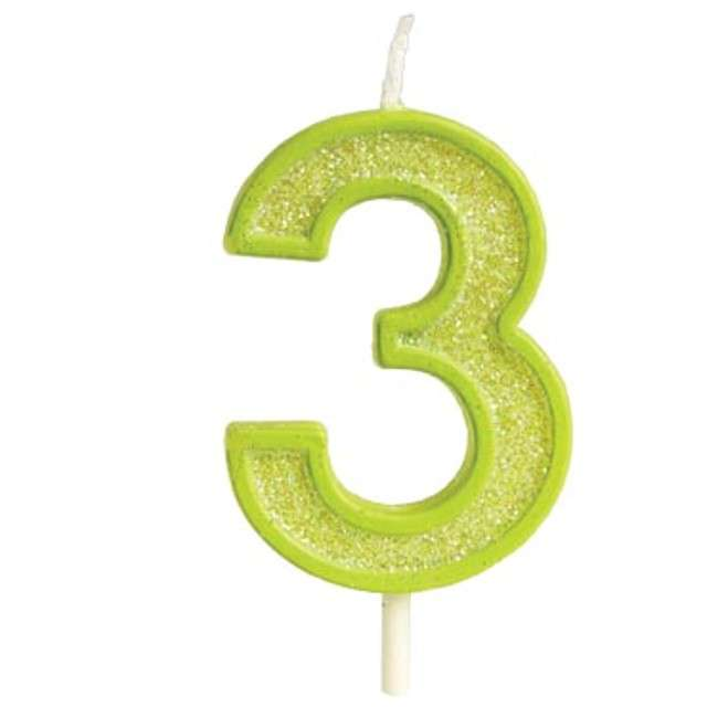 """Świeczka na tort """"Cyfra 3 brokat"""", zielona, Guirca, 4 cm"""