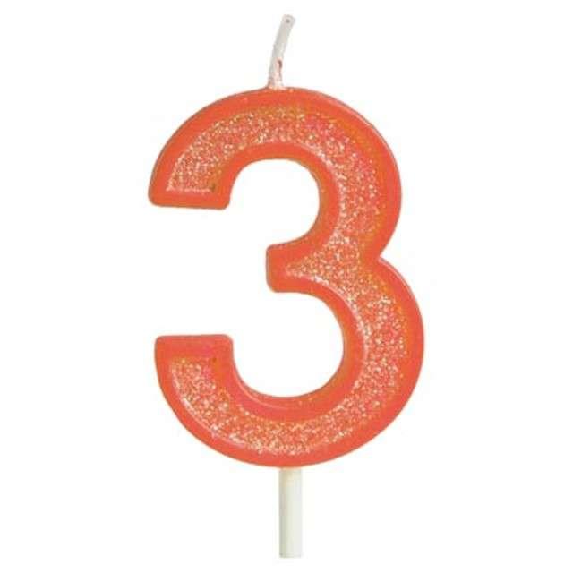 """Świeczka na tort """"Cyfra 3 brokat"""", pomarańczowa, Guirca, 4 cm"""