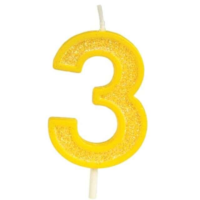 """Świeczka na tort """"Cyfra 3 brokat"""", żółta, Guirca, 4 cm"""