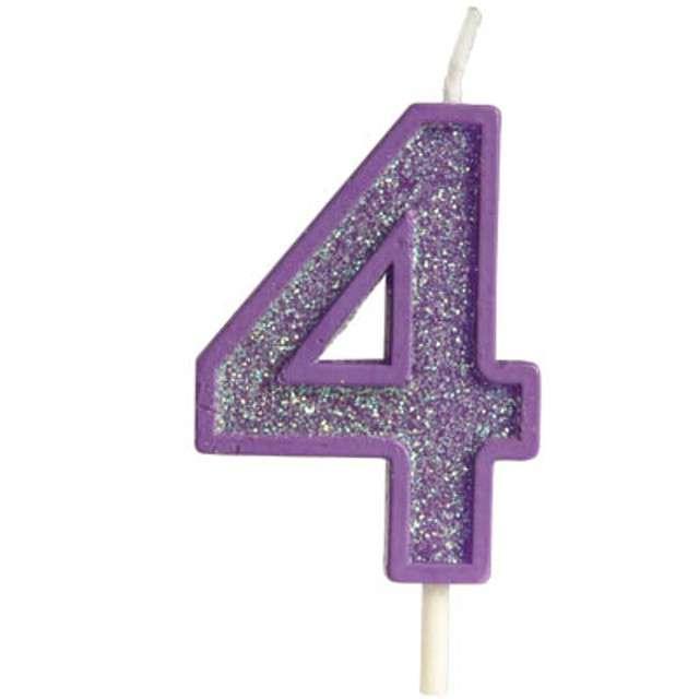"""Świeczka na tort """"Cyfra 4 brokat"""", fioletowa, Guirca, 4 cm"""
