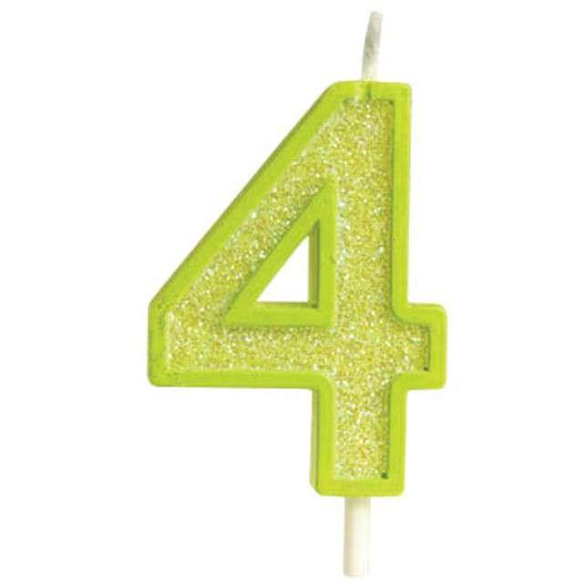 """Świeczka na tort """"Cyfra 4 brokat"""", zielona, Guirca, 4 cm"""