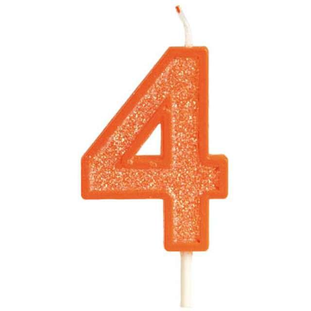 """Świeczka na tort """"Cyfra 4 brokat"""", pomarańczowa, Guirca, 4 cm"""