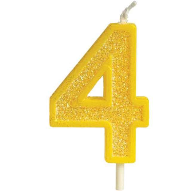 """Świeczka na tort """"Cyfra 4 brokat"""", żółta, Guirca, 4 cm"""