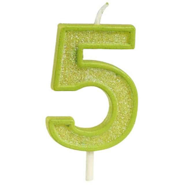 """Świeczka na tort """"Cyfra 5 brokat"""", zielona, Guirca, 4 cm"""