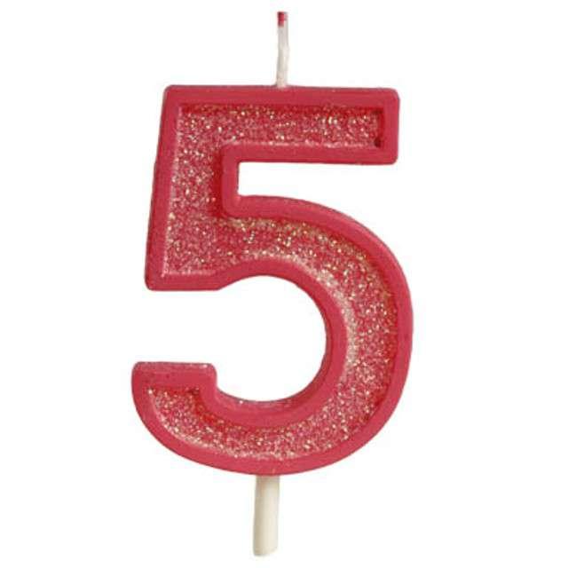 """Świeczka na tort """"Cyfra 5 brokat"""", czerwona, Guirca, 4 cm"""