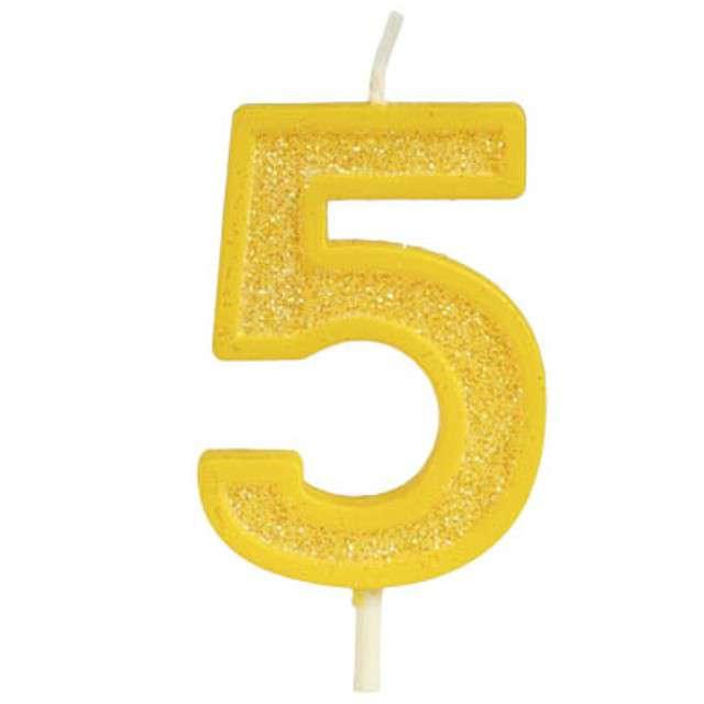 """Świeczka na tort """"Cyfra 5 brokat"""", żółta, Guirca, 4 cm"""