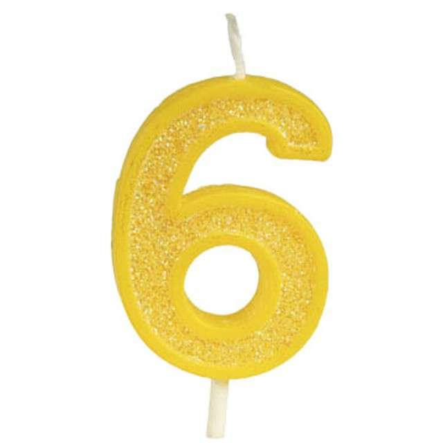 """Świeczka na tort """"Cyfra 6 brokat"""", żółta, Guirca, 4 cm"""