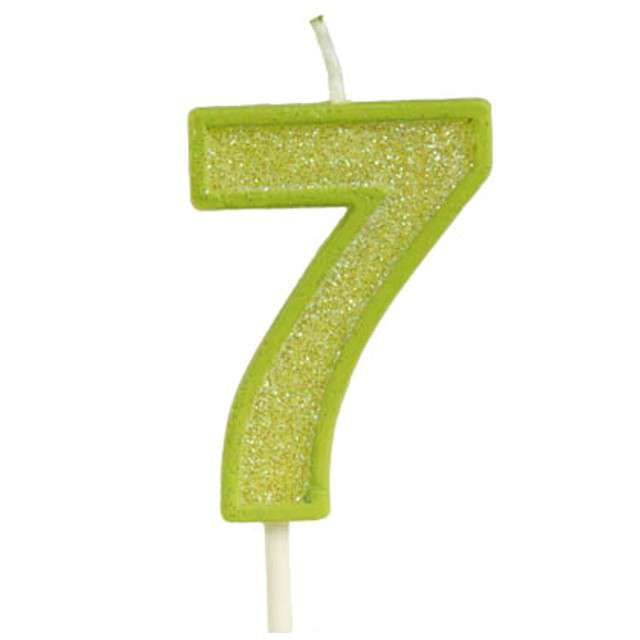 """Świeczka na tort """"Cyfra 7 brokat"""", zielona, Guirca, 4 cm"""