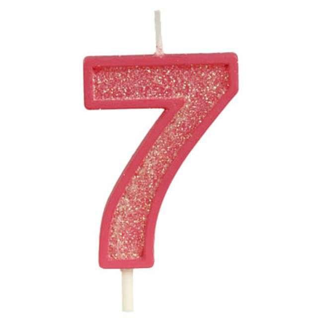 """Świeczka na tort """"Cyfra 7 brokat"""", czerwona, Guirca, 4 cm"""