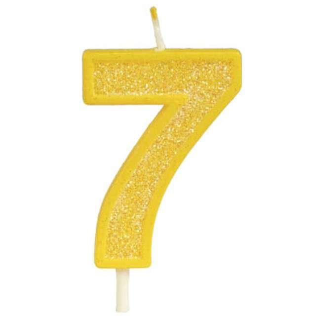 """Świeczka na tort """"Cyfra 7 brokat"""", żółta, Guirca, 4 cm"""