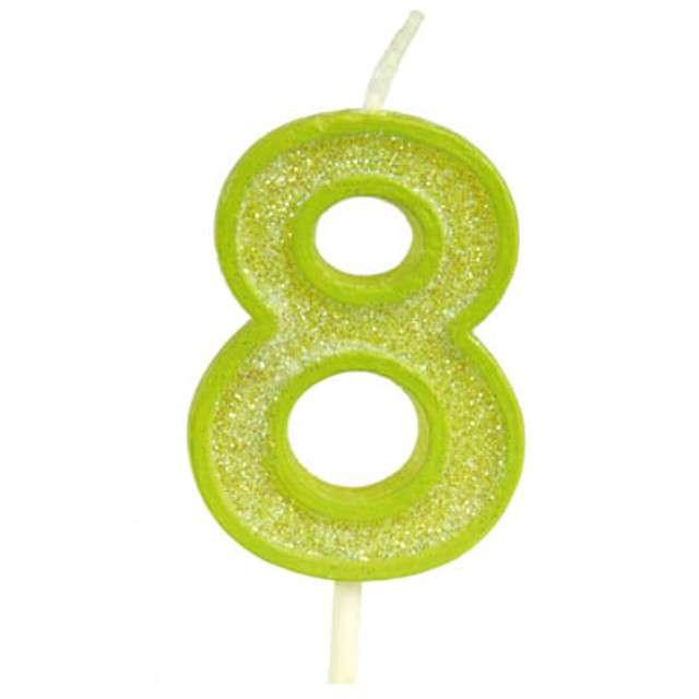 """Świeczka na tort """"Cyfra 8 brokat"""", zielona, Guirca, 4 cm"""