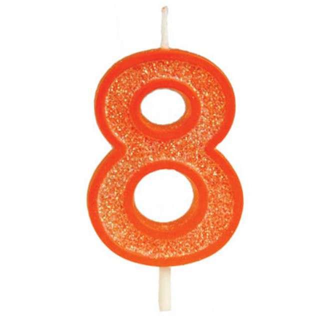 """Świeczka na tort """"Cyfra 8 brokat"""", pomarańczowa, Guirca, 4 cm"""
