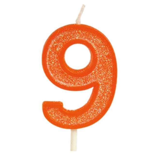 """Świeczka na tort """"Cyfra 9 brokat"""", pomarańczowa, Guirca, 4 cm"""