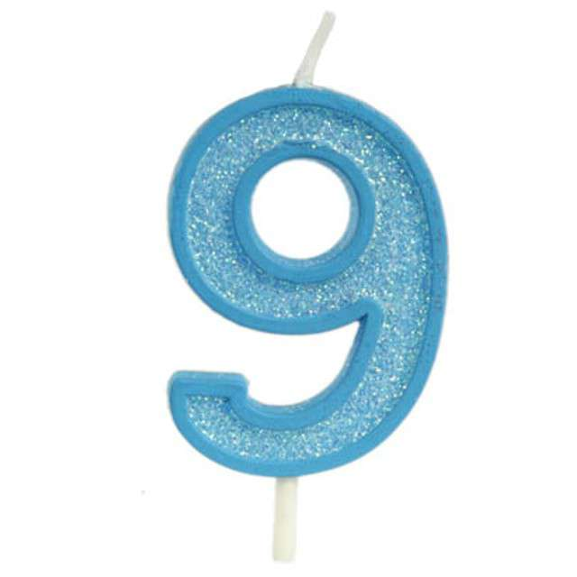 """Świeczka na tort """"Cyfra 9 brokat"""", niebieska, Guirca, 4 cm"""