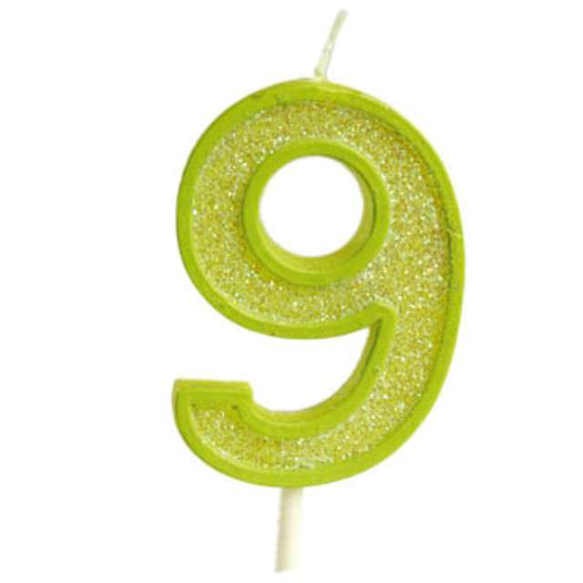 """Świeczka na tort """"Cyfra 9 brokat"""", zielona, Guirca, 4 cm"""