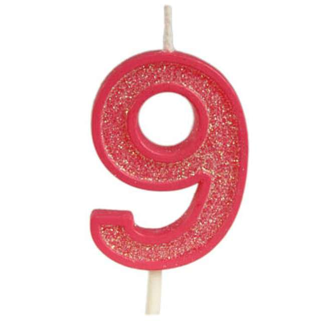 """Świeczka na tort """"Cyfra 9 brokat"""", czerwona, Guirca, 4 cm"""