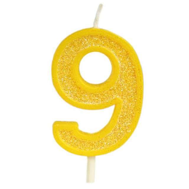 """Świeczka na tort """"Cyfra 9 brokat"""", żółta, Guirca, 4 cm"""