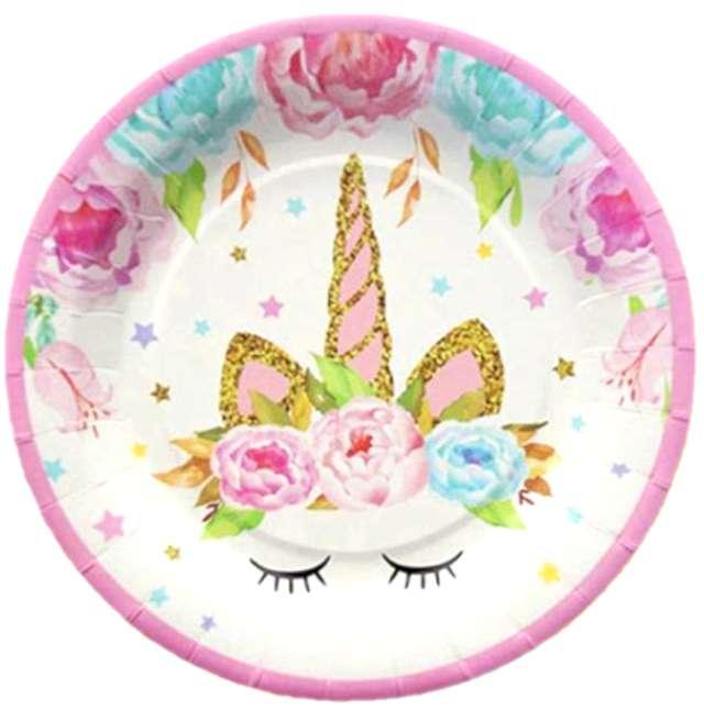 """Talerzyki papierowe """"Unicorn - Jednorożec"""", różowe, Jix, 17,5 cm, 6 szt"""