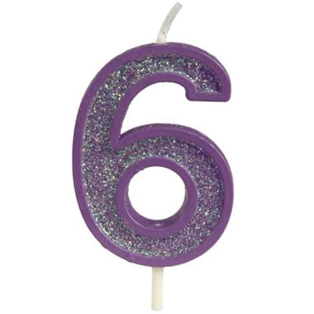 """Świeczka na tort """"Cyfra 6 brokat"""", fioletowa, Guirca, 4 cm"""