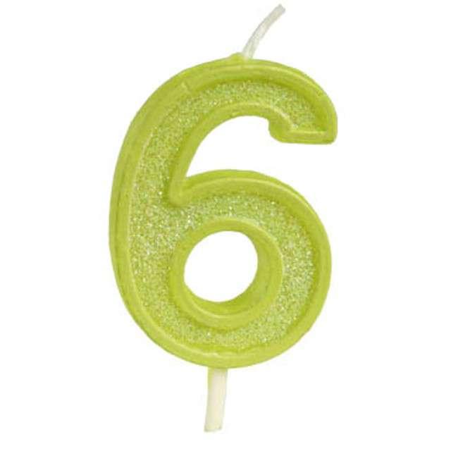 """Świeczka na tort """"Cyfra 6 brokat"""", zielona, Guirca, 4 cm"""