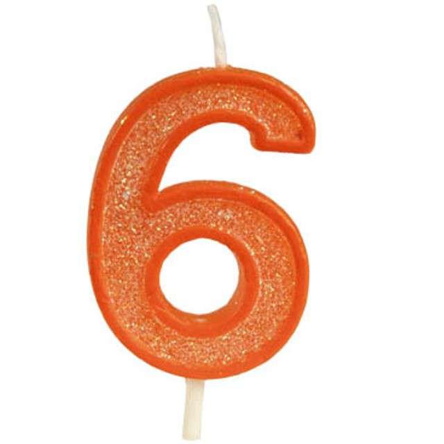 """Świeczka na tort """"Cyfra 6 brokat"""", pomarańczowa, Guirca, 4 cm"""