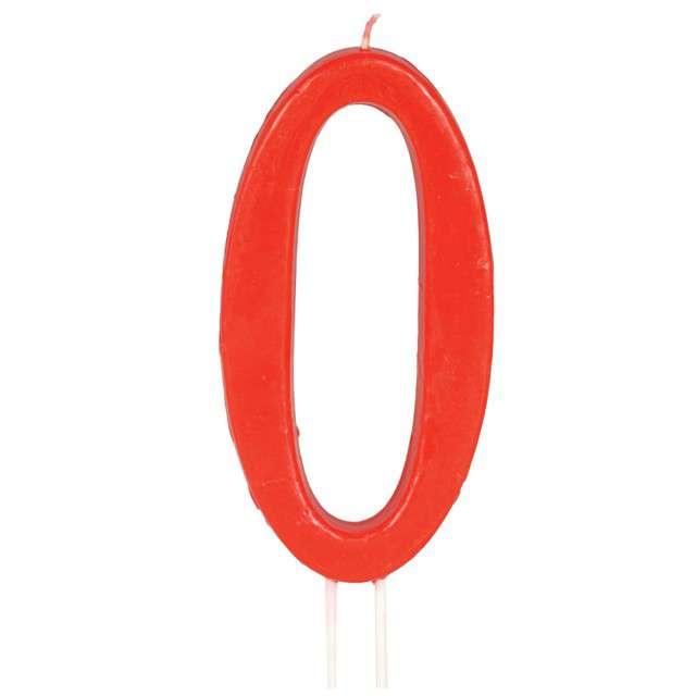 """Świeczka na tort """"Cyfra 0"""", czerwona, Guirca, 12 cm"""