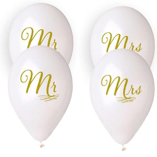 """Balony """"Ślubne - Mr & Mrs z wężykiem"""", białe, Gemar, 13"""", 4 szt."""