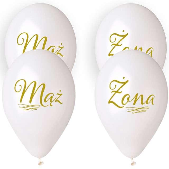 """Balony """"Ślubne - Mąż i Żona z wężykiem"""", białe, Gemar, 13"""", 4 szt."""