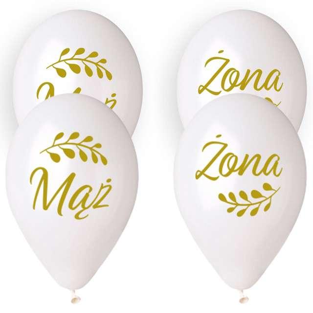 """Balony """"Ślubne - Mąż i Żona z listkiem"""", białe, Gemar, 13"""", 4 szt."""