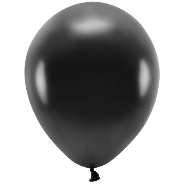 """Balony """"Ekologiczne"""", czarny metalik, Partydeco, 10"""", 100 szt"""