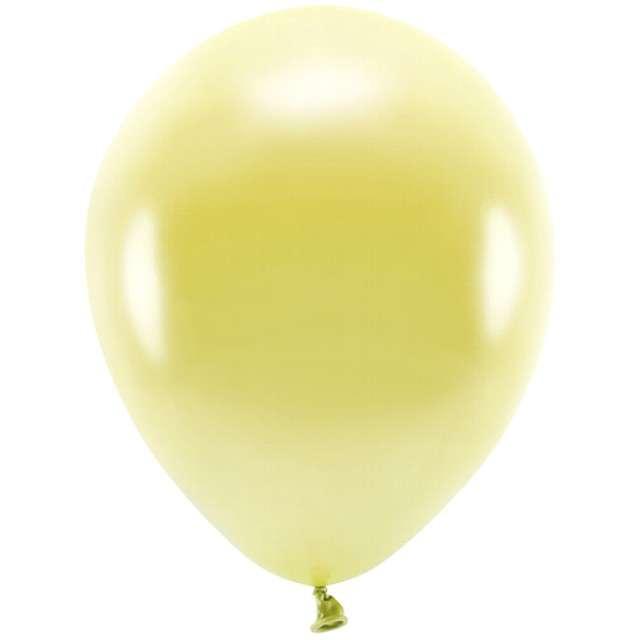 """Balony """"Ekologiczne"""", żółty jasny metalik, Partydeco, 10"""", 100 szt"""