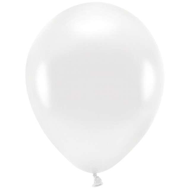"""Balony """"Ekologiczne"""", biały metalik, Partydeco, 12"""", 100 szt"""