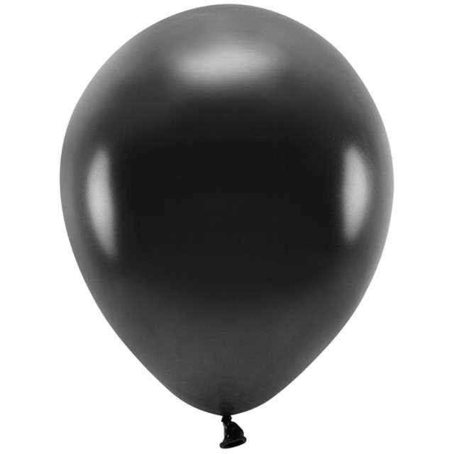 """Balony """"Ekologiczne"""", czarny metalik, Partydeco, 12"""", 100 szt"""
