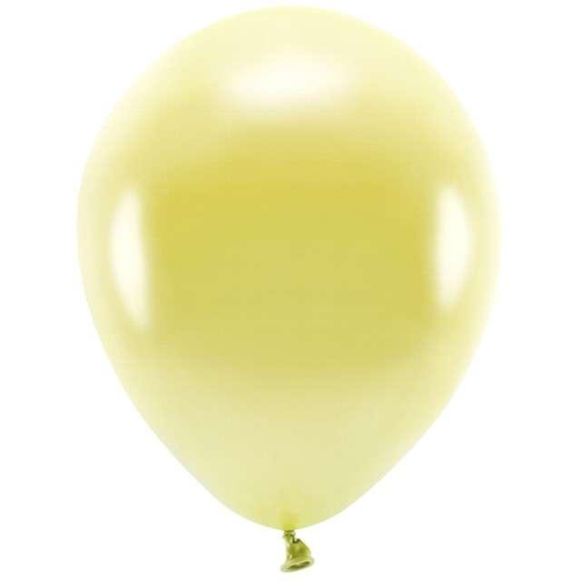 """Balony """"Ekologiczne"""", żółty jasny metalik, Partydeco, 12"""", 100 szt"""